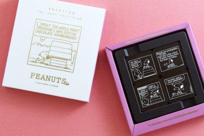 """ラブレターを書くスヌーピーが描かれた""""ベルギーチョコレート""""が、1/20(日)「PEANUTS Cafe 中目黒」他、全店で発売!<br><br>/PEANUTS Cafe<br>/PEANUTS DINER"""