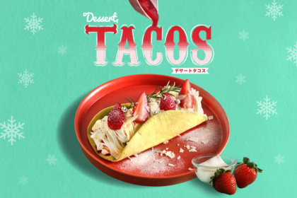 """クリスマスの誘惑を包み込む・・・ 『パエリアン・ピーシーズ』から、人気の""""デザートタコス""""にクリスマス限定タコスが仲間入り!<br><br>/パエリアン・ピーシーズ"""