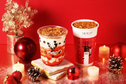 お茶に恋をする本格派ティーストア「THE ALLEY」より、クリスマス限定のスイーツドリンク『カリカリストロベリースイーツラテ』、『カリカリティラミススイーツラテ』が12月1日(火)より新登場!<br><br>/THE ALLEY