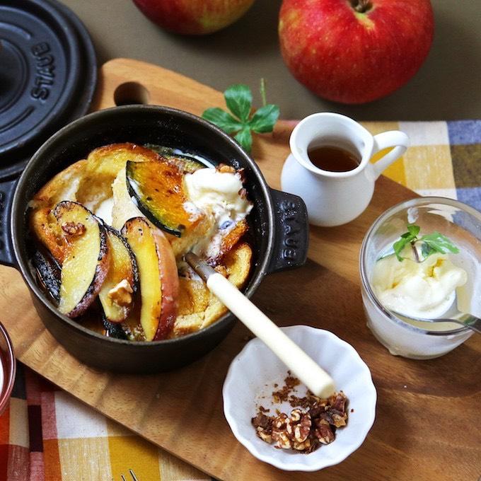 秋のシュゼット風パンヴェルデュ ~焼りんごとかぼちゃのメープル・フレンチトースト~
